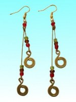 Boucles d'oreilles 2 notes rouges