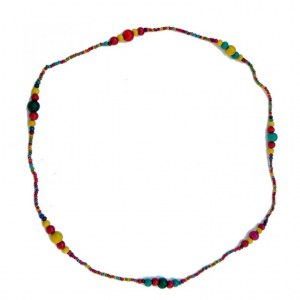 collier fantaisie multicolore en bois