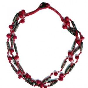collier fantaisie rose et noir