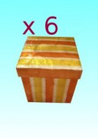 Lot de 6 boîtes nacre PM orange rayé