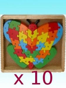 Lot de 10 puzzles papillon alphabet