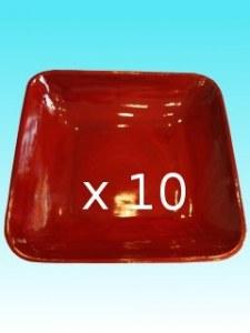 Lot de 10 Plat carré bambou rubis 30 x30 x 7 cm