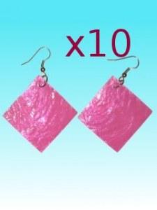 Lot de 10 Boucles d'oreille carrée rose en capiz