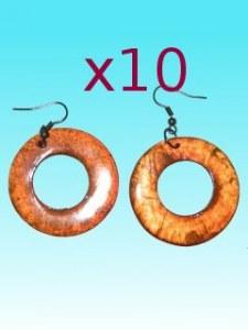 Lot de 10 Boucles d'oreille ronde orange en capiz