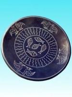 Assiette plate MM kisii bleu poisson