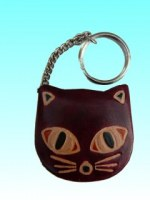 Porte clés avec porte monnaie chat en cuir