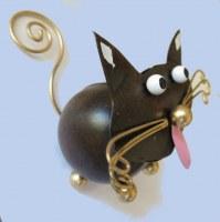 chat métal porte photo 8x8 cm