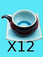 Lot de 12 Tasses à Café ronde turquoise avec sous tasse carrée