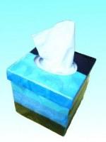 Boîte à mouchoirs capiz bleue 12,5 x 12, 5 x 13 cm