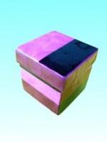 boîte cubique rose en capiz 10,2x10,2 cm