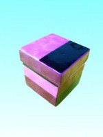 Boîte cubique rose en capiz 8x8 cm