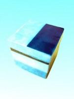 Boîte cubique bleue en capiz 8x8 cm