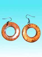 Boucles d'oreille ronde orange en capiz