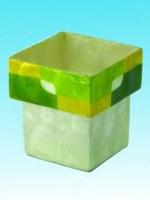 Vase capiz laminé vert et jaune