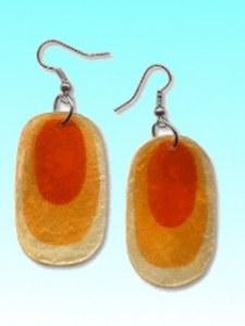 Boucles d'oreille capiz orange ovale env 3cm