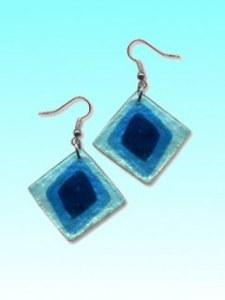 Boucles d'oreille capiz carré bleu env 3cm