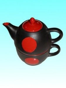 Tasse theière rouge et noire