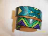 bracelet cuir spirale vert et bleu