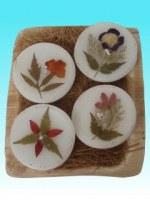 Bougies rondes fleur lot de 4