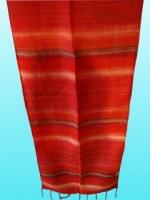 Etole en soie  naturelle fine  rouge rayée 140x25 cm