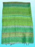 Etole en soie naturelle fine verte rayée 140x25 cm