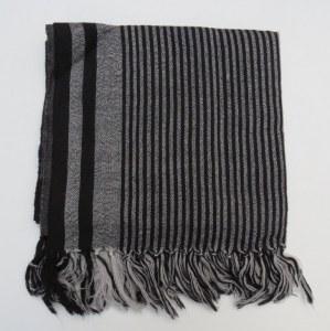 Etole 100% laine 180x 50 cm gris et noir rayé