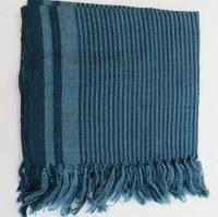 Etole 100% laine 180x 50 cm bleu pétrole rayé
