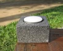 Bougeoir zen carré en pierre volcanique noire