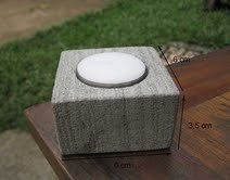Bougeoir zen carré en pierre volcanique grise
