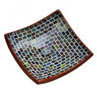 Plat en mozaïque de verre tons turquoise