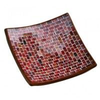 Plat en mozaïque de verre tons rouge