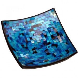 Plat en mozaïque de verre tons bleu lagon
