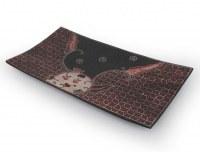 Plat à sushi batik motifs rouge et noir 34x18 cm