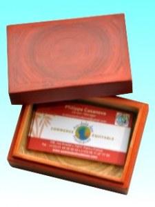 Boite bambou carte visite orange