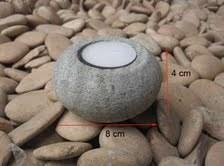 Bougeoir zen rond en pierre volcanique grise  Dia= 8 cm H = 4 cm