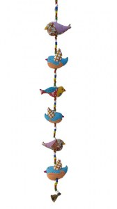 Suspension oiseaux patchwork env 100 cm en coton