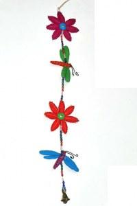 Suspension libellule et fleurs env. 67 cm en coton
