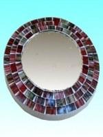 Miroir rond 15 cm rouge