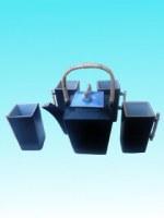 Service à thé céramique bleu cubique haut