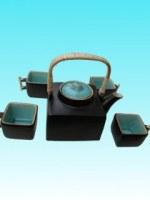 Service à thé céramique turquoise cubique bas