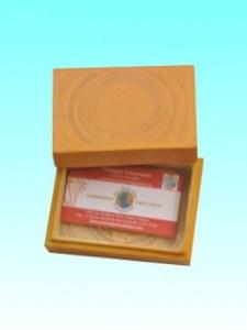 Boîte bambou carte visite jaune