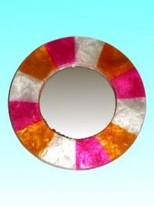 Miroir capiz rond naturel violet orange 15 cm