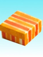 Boîte mini rayée capiz jaune orange