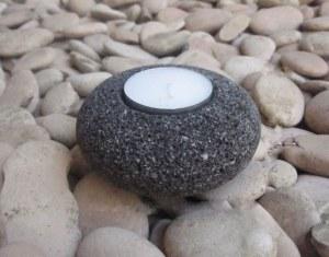 Bougeoir zen donut en  lave noire