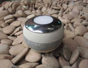 Bougeoir zen boule lave blanche et grise, support en alu
