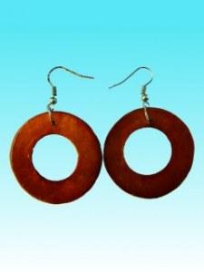 Boucles d'oreille ronde couleur cuivre en capiz attache en argent