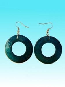 Boucles d'oreille ronde turquoise en capiz