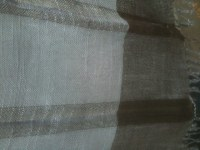 Scarf 100% linnen grey blue  with brown stripes 180 x 40 cm