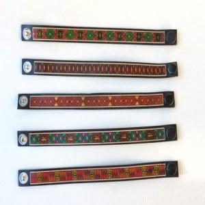 bracelet cuir batik multicolore