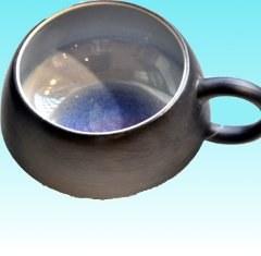 Tasse à déjeuner bleue 13 cm diam 7cm h